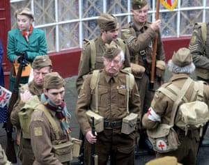 Actor Sir Tom Courtenay (centre) who plays Corporal Jones