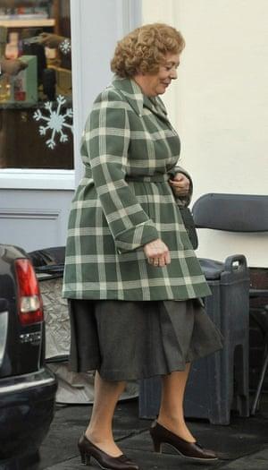 Alison Steadman on set filming.