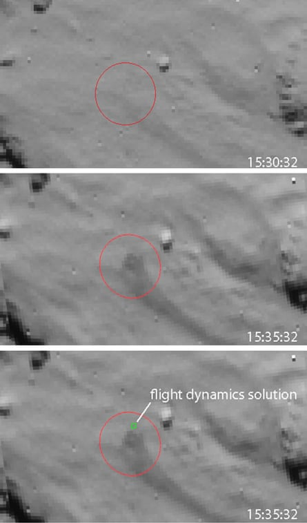 The European Space Agency's images were recorded by the navigation camera on board Rosetta as the orbiter flew over the (intended) Philae landing site on 12 November.
