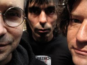 Steve Albini with his Shellac bandmates, Todd Trainer and Bob Weston
