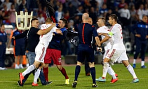 a0873bd45af A recent Serbia versus Albania match was abandoned after crowd trouble and  fighting between players and fans. Photograph  Marko Drobnjakovic AP