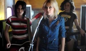 The Runaways, rebooted … From left, Kristen Stewart as Joan Jett, Dakota Fanning as Cherie Currie and Alia Shawkat as Robin.