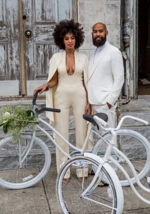 Musician Solange Knowles and her fiance, music video director Alan Ferguson, rode bicycles in the French Quarter of New Orleans en route to their wedding.