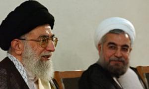 Ayatollah Ali Khamenei和Hassan Rouhani