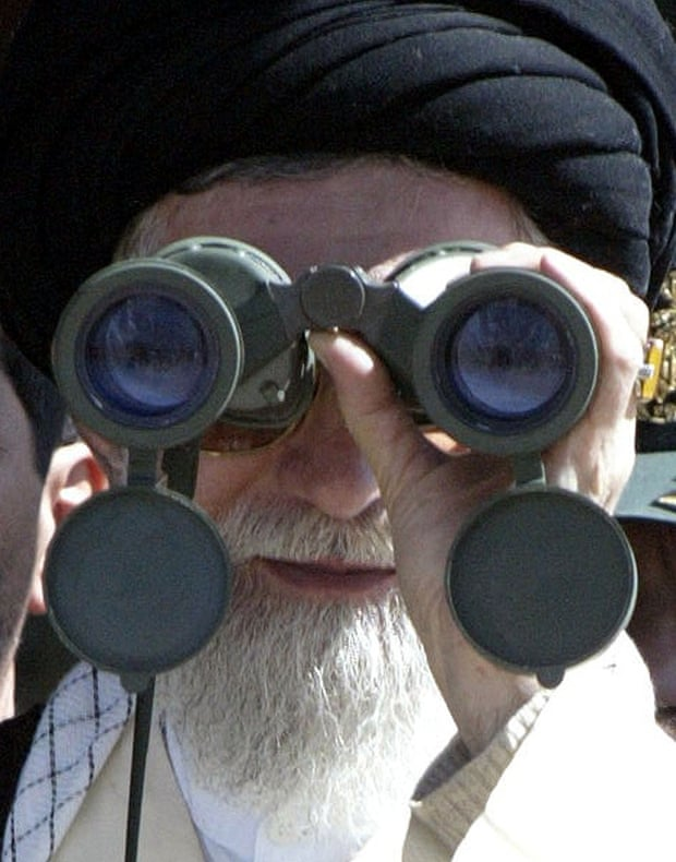 Iran's Ayatollah Khamenei has called several times in recent months for Muslim unity. Pictured here at a Revolutionary Guard military manoeuvre in a western province near the border with Iraq in 2004.