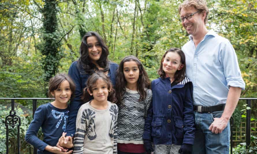 James and Sharmila Collins with their daughters Sohana, 12, right, Jacinda, 11, centre, and twins Akhaila and Zuleikha, seven.