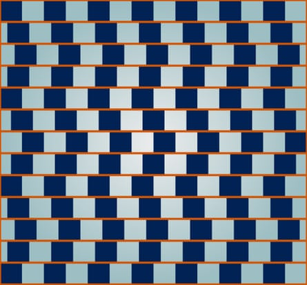 Optical illusion of bent straight lines.