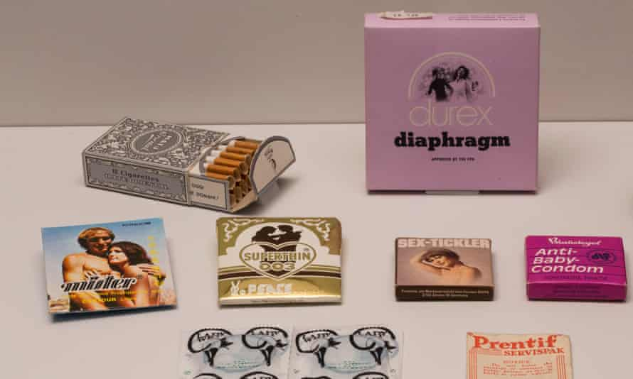 Selection of condoms, 20th century, at the Institute of Sexology exhibition at the Wellcome Collection