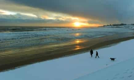 Salty dog… a wintry walk on the beach at Tynemouth