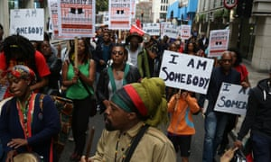 Protesters outside the Barbican call for a boycott of Exhibit B, by south African artist Brett Bailey.