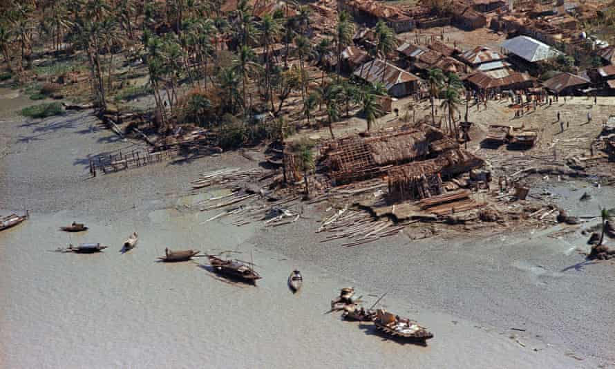 An aerial view of devastation in the aftermath of the cyclone that hit the Bay of Bengal in East Pakistan, November 1970.