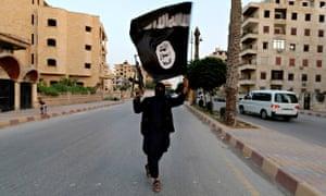 Man waving Islamic State flag in Syria
