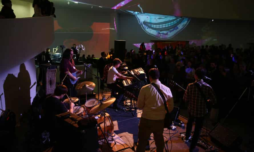 Oneida performs as part of Creamcheese with visual effects by Brock Monroe with Joshua White and Brigid Smith at the Guggenheim Museum.