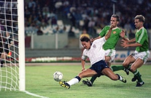 England's Gary Lineker scores against the Republic of Ireland at the 1990 World Cup.