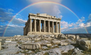 Rainbow in sky, Parthenon, Greece. Are things looking up for the Greek economy?