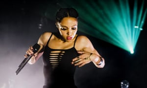FKA Twigs (Tahliah Debrett Barnett) performs on stage at Tolhuistuin on October 15, 2014 in Amsterdam, Netherlands