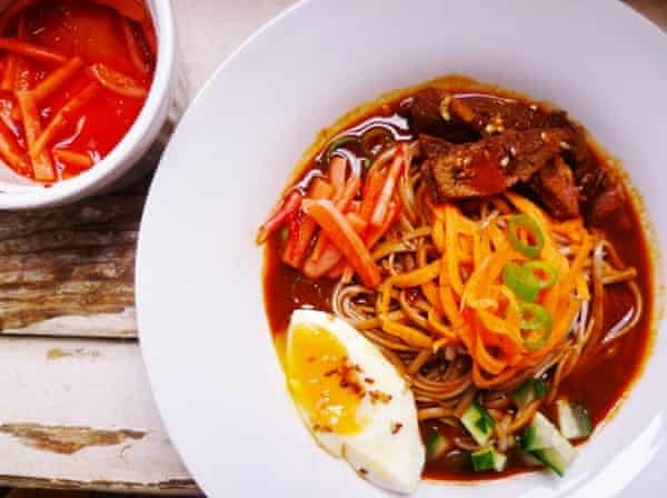 Regular Rachel Kelly's cold buckwheat (AKA naengmyeon) noodle soup.