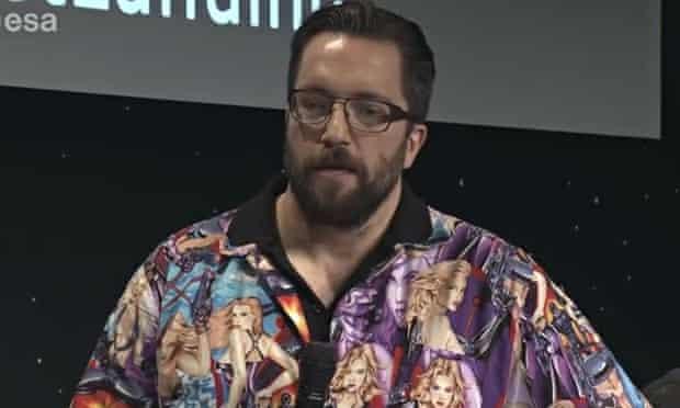 Scientist Matt Taylor wearing his 'sexist' shirt