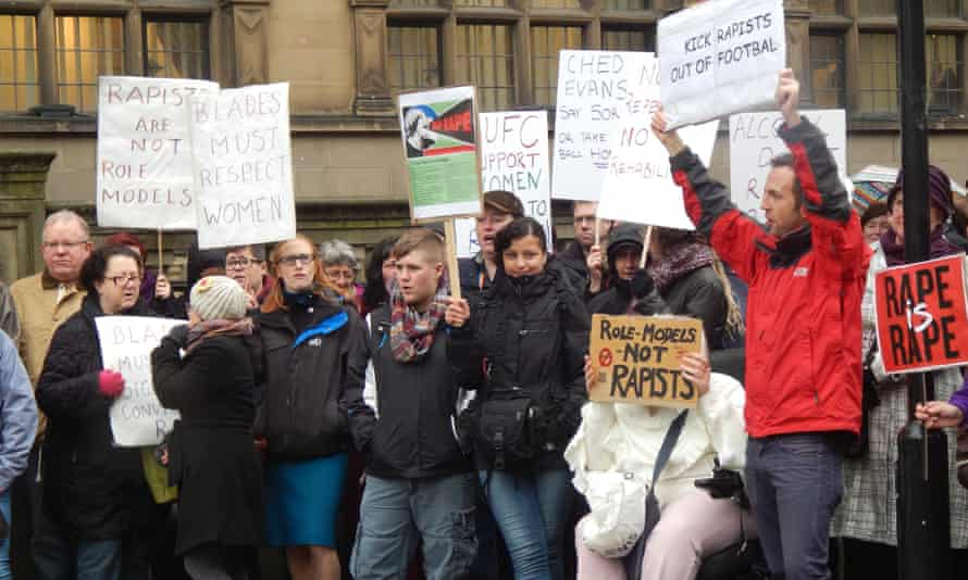 A protest against Sheffield United's decision to allow convicted rapist Ched Evans to train with them
