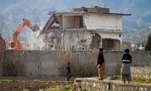 The demolition of Osama bin Laden's compound in Abbottabad.