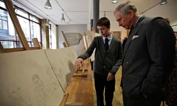 Prince Charles touring an end-of-year exhibition at London's Royal Drawing School,