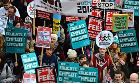 A previous student demonstration against sharp rises university tuition fees, funding cuts and high