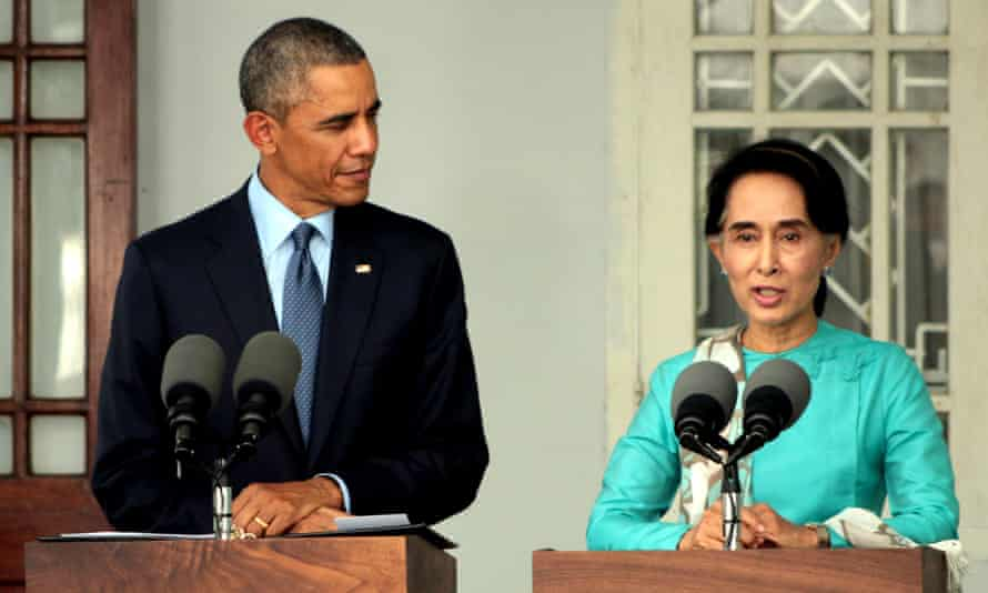 Aung San Suu Kyi with Barack Obama at a press conference during his recent visit to Burma.