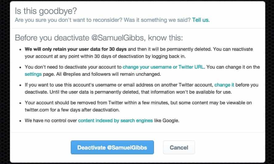 Twitter deactivation