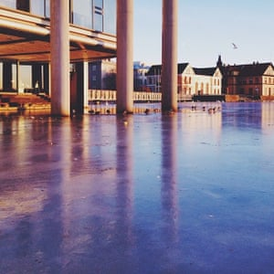 Reykjavik City Hall and Lake Tjörnin on a beautiful winters day