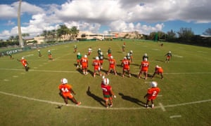 Miami Athletics, using drones to capture scenes from their workouts.