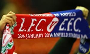 Liverpool v Everton half-and-half scarf