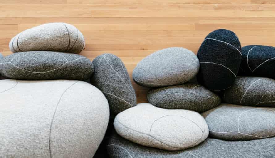 Fake stone cushions, made of felt, at Kampin kappeli