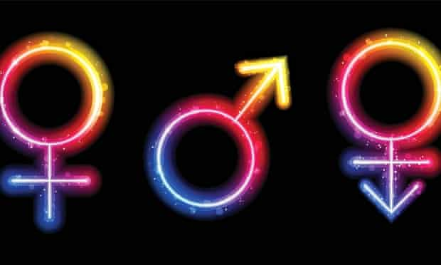 Male, female and transgender gender symbols in neon