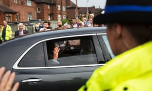 Prince Charles on his tour of Chester.