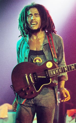 Bob Marley performs on stage with The Wailers in May 1977 in The Hauge, Netherlands