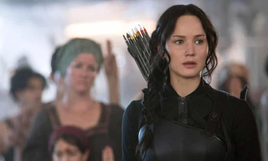 Jennifer Lawrence as Katniss Everdeen in a scene from The Hunger Games: Mockingjay Part 1.