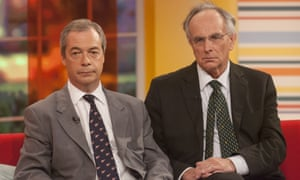 Nigel Farage, left, and Peter Bone in the studios of ITV's Daybreak programme last year.