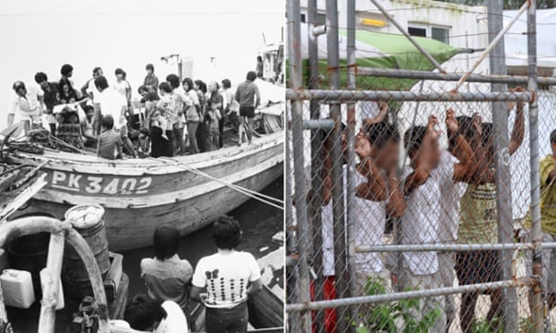 Asylum seekers arriving in Darwin in the 1970s and being held in Manus Island detention centre in PNG in 2014.
