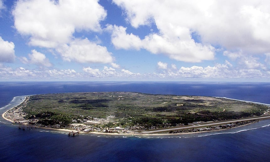 Nauru from the air – the island has few sources of income other than the detention centre operated by the federal government.