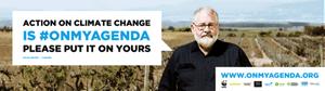 The climate change billboard depicting South Australian farmer David Bruer.