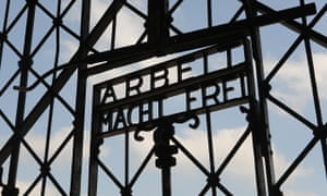 The entrance gate of the former Nazi concentration camp in Dachau near Munich