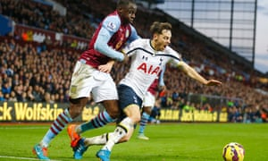 Aly Cissokho brings down Ryan Mason as the Spurs midfielder dribbles along the byline towards goal.