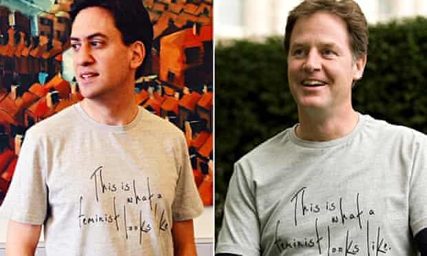 Ed Miliband and Nick Clegg feminist T-shirt