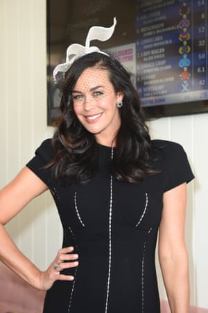 Megan Gale in the Birdcage on Derby Day.