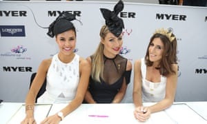 Myer Fashions on the Field judges Lauren Phillips, Rebeccah Panozza and UK fashion illustrator Erin Petson at Derby Day.