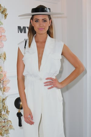 Jesinta Campbell at the Myer Marquee on Derby Day.