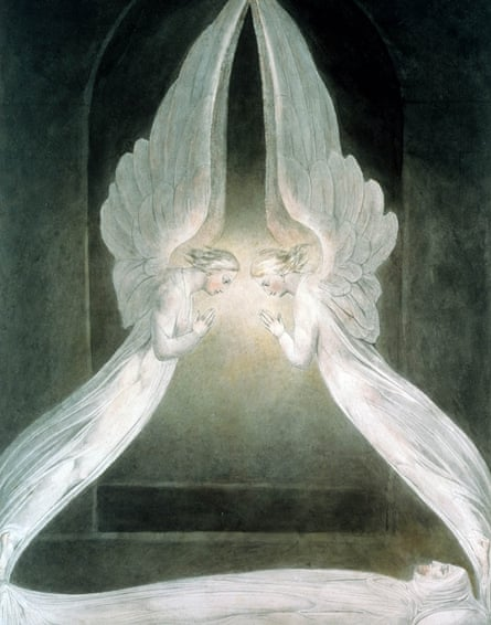 The Angels hovering over the Body of Jesus in the Sepulchre.
