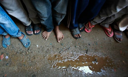 Children after being rescued from a factory in Kathmandu