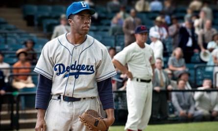 Boseman as Jackie Robinson in 42. Photograph: Sportsphoto Ltd/Allstar