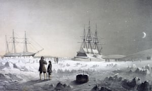 An engraving of HM Assistance and Pioneer in their winter quarters.